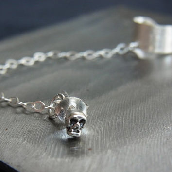 Punk ear cuff chain with SKULL stud earring - Sterling Silver