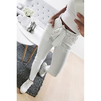 Casual Pants Female Trouser Striped OL High Waist Ankle-Length Pant Bow Tie Drawstring