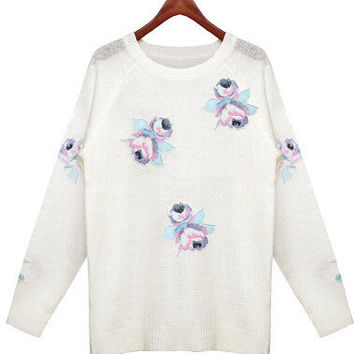 Flower Embroidered  Ribbed Long Sleeves Sweater
