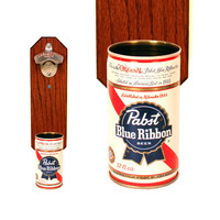 Wall Mounted Bottle Opener with Vintage Pabst Blue Ribbon Beer Can Cap Catcher - PBR Gift for Guy