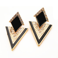 Fashion Accessories Jewelry Vintage Brand Crystal Chromophous Sparkling Multicolor Stud Earrings  For Women E057