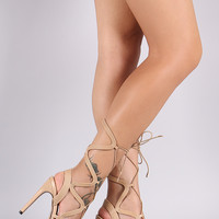 Liliana Wavy Straps Lace-Up Stiletto Heel