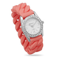 Pink Silicone Curb Style Stretch Watch