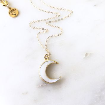 Moon Crescent - Half Moon 14K Gold Filled necklace.