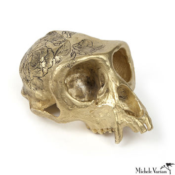 Cast Brass Monkey Skull with Roses Tattoo