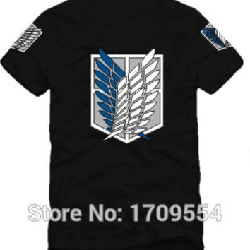 Japanese anime shingeki no kyojin tee shirt Attack On Titan short-sleeve T-shirt,t shirt men,tshirt,scouting legion clothes GC59