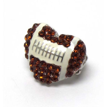 """Crystal """"Bling"""" Heart Football Stretch Ring, Jewelry"""