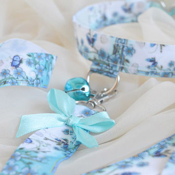 Mariposa baby set - blue and white set of choker with bell, leash, cuffs and cuff bond - lolita neko kitten pet play bdsm ddlg collar