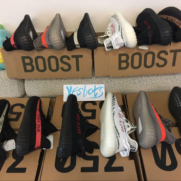 With box DHL free Kanye West Sply Boost 350 V2 zebra Black White Green Glow kamatiti Men Women ultra nmd smith Running Shoes