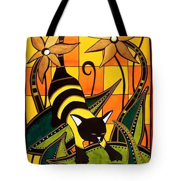 Kitty Bee - Cat Art By Dora Hathazi Mendes Tote Bag