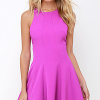 Flare Grounds Bright Purple Dress