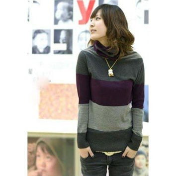 Color Block Long Sleeves Turtle Neck Sweater