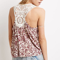 Crochet-Paneled Paisley Print Top