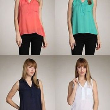 Women Sheer Chiffon Sleeveless Cami Tank Top Asym Hi-Low Hem Shirt Blouse
