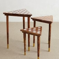 Mother-Of-Pearl Nesting Tables by Anthropologie in Brown Motif Size: Set Of 3 House & Home