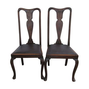 Pre-owned Antique Queen Anne Chairs - A Pair