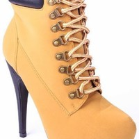 JJF Shoes Women's COMPOSE-01 High Heel Almond Toe Lace Up Ankle Booties Camel 7