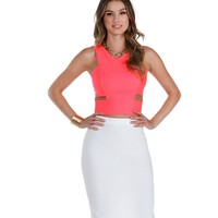 Promo-coral Made The Cut Crop Top