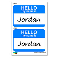 Jordan Hello My Name Is - Sheet of 2 Stickers