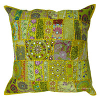 24 Inch Yellow Indian Sari Multi Patchwork Throw Pillow