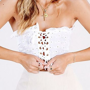In A Minute White Eyelet Lace Strapless Ruffle Lace Up Grommet Smocked Back Crop Tube Top Blouse