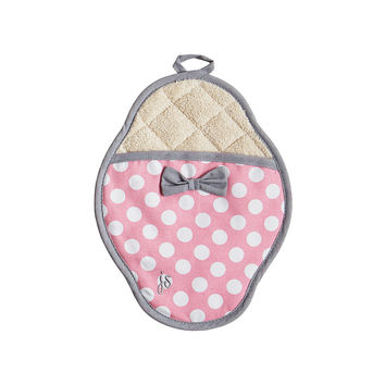Rosy Pink Polka Dot Scalloped Pot Mitt