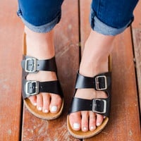 Boho Black Slip On Sandals