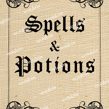 Printable Halloween Spells and Potions Book Cover Scrapbooks Mini Albums Image Transfer Digital Download Iron on Altered Art Mixed Media