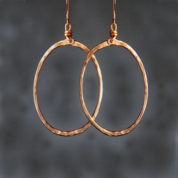 Copper textured hammered oval hoop Earrings Bridesmaid gifts Free US Shipping handmade Anni designs