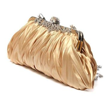 MDIG57D Fashion Lady Party Wedding Handbag Purse Girl Soft Evening Bag Bridal Women Satin Crystal Clutch