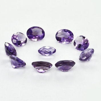 Natural Amethyst Gemstone,8x10 MM Gemstone Amethyst Loose - Oval Shape -10 pieces - Approx - 21.1ct.,Faceted Gemstone, Lot Amethyst Gemstone