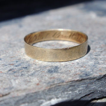 Antique Wedding Band 1870 Ring 10k yellow gold simple