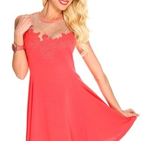 Coral Mesh Cut Out Embroidered Floral Dress