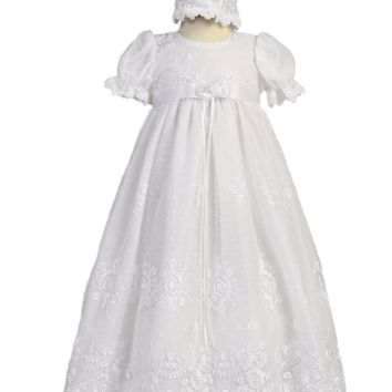 Girls Floral Embroidered Tulle Christening Gown w. Lace Trim 0-18m
