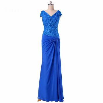 Mother of the Bride Dresses Blue Long Chiffon Lace Robe Evening Dress