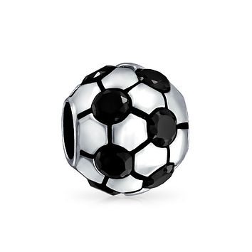 CZ Soccer Ball Mom Football Player Sport Charm Bead Sterling Silver