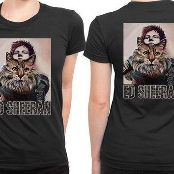 ESBP7V Ed Sheeran And His Tiger On Canvas 2 Sided Womens T Shirt