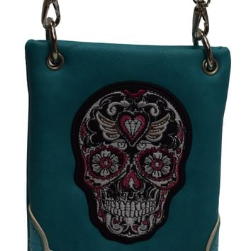Stylist Women Sugar Skull Day of the Dead Mini Cross body Bag