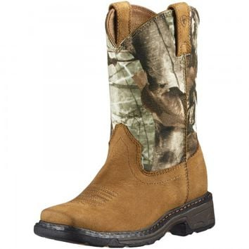 Ariat Childrens Boys WorkHog Camo Cowboy Boots Tan