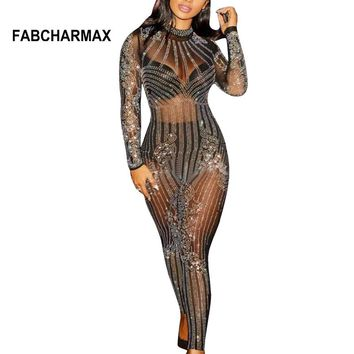 Long sleeve rhinestone mesh jumpsuit