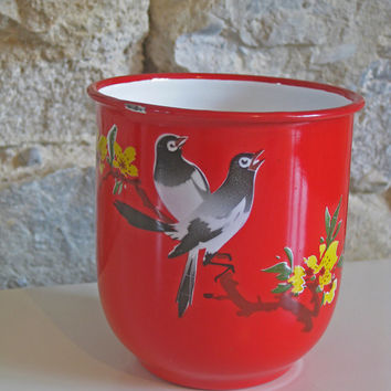 French enamel mug with birds and flowers