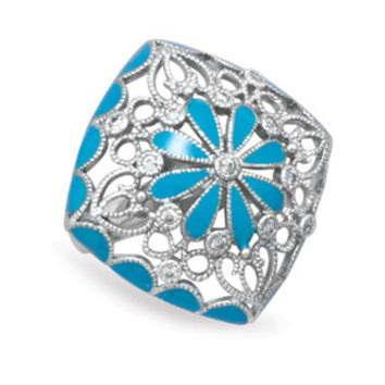 Rhodium Plated Brass Ring with Blue Enamel Floral Design