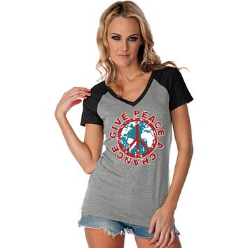 Ladies Peace T-shirt Give Peace a Chance Contrast V-Neck