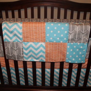 Baby Boy Crib Beddinng - Gray Arrow, Aqua Dot, Aqua Chevron and Orange Herringbone Crib Baby Bedding Ensemble with Patchwork Blanket