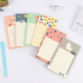 1PC Kawaii animal memo notepad Mini notebooks Sticky notes planner Office memos pad Stationery school material supplies(tt-2775)