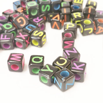 1 full set 6mm cube letter alphabet beads, Large letter beads, 6mm cube beads, letter square beads, ABC letter beads, Name beads