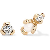 SARAH & SEBASTIAN - Petite Heirloom 9-karat gold, diamond and pearl earrings