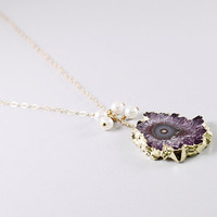 Amethyst stalactite necklace: gold druzy necklace, natural crystal drusy pendant pearls handmade jewelry by NatureLook