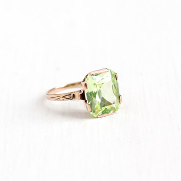 Vintage 10k Rose Gold Created Green Spinel Ring - Late Art Deco 1940s Size 7 3/4 Green Simulated Peridot Emerald Cut Fine Flower Jewelry