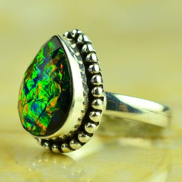 Rare Opal Triplet Designer 925 Silver Ring Size US#6.00 to US#10.00